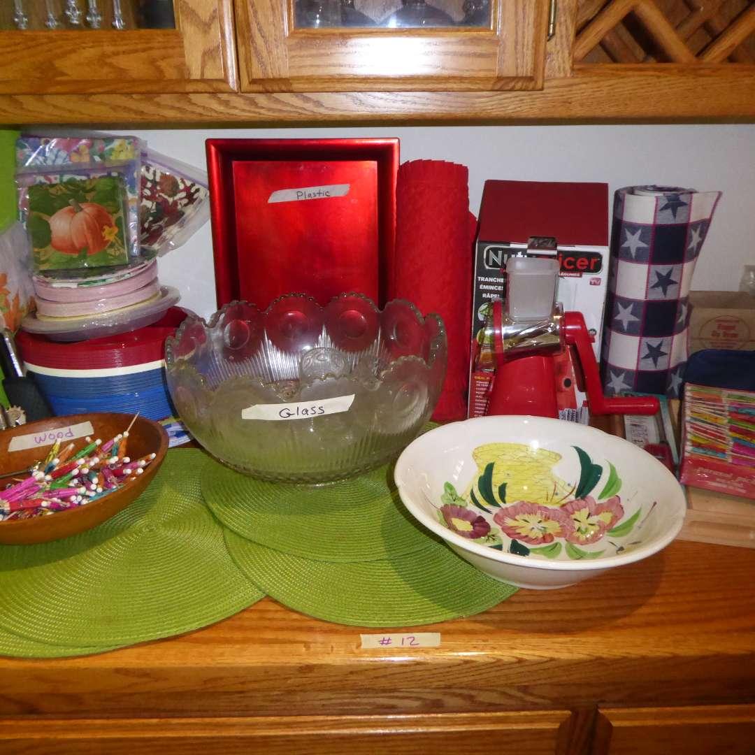 Lot # 12 - Picnic & Party Supplies (Punch Bowl, Umbrellas & Slicer) (main image)