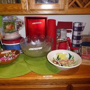 Lot # 12 - Picnic & Party Supplies (Punch Bowl, Umbrellas & Slicer)