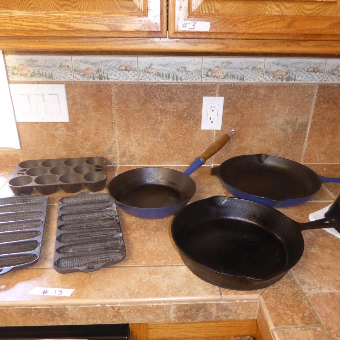 Lot # 13 - Cast Iron (Griswold, Le Creuset & Corn Bread Pans (main image)