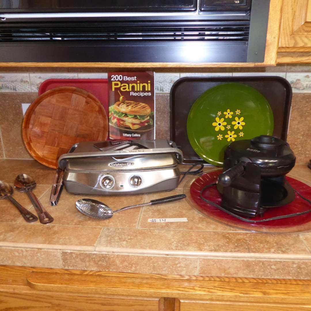 Lot # 14 - Calphalon Panini Maker, Waffle Iron & Serving Trays