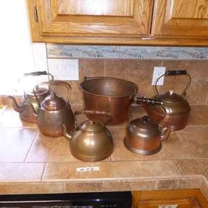 Lot # 28 - Copper Tea Pots & Copper Bucket