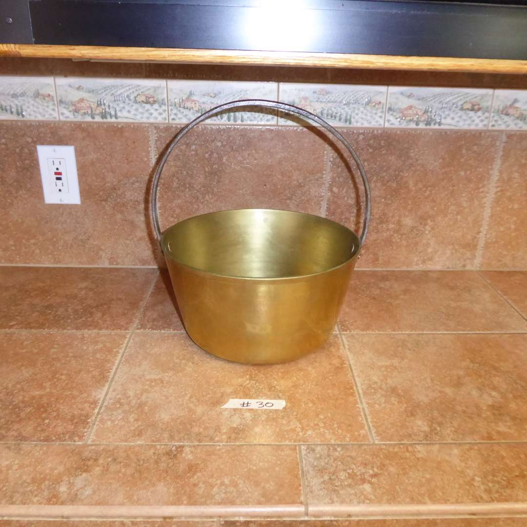 Lot # 30 - Vintage Brass Metal Pot Bucket Kettle w/Fixed Iron Handle
