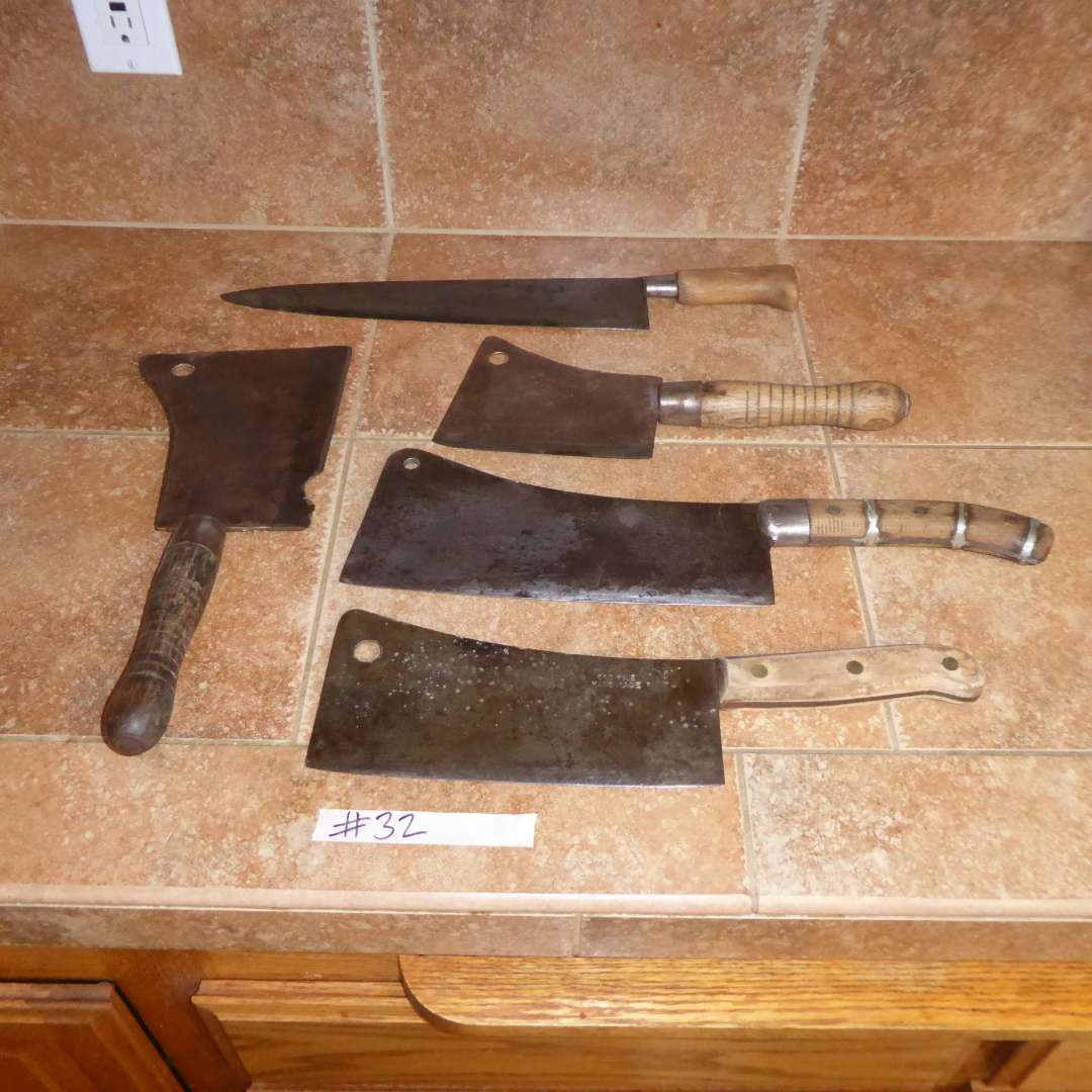 Lot # 32 - Antique Meat Cleavers (WM Beatty & Son, F Dick & Others)  (main image)