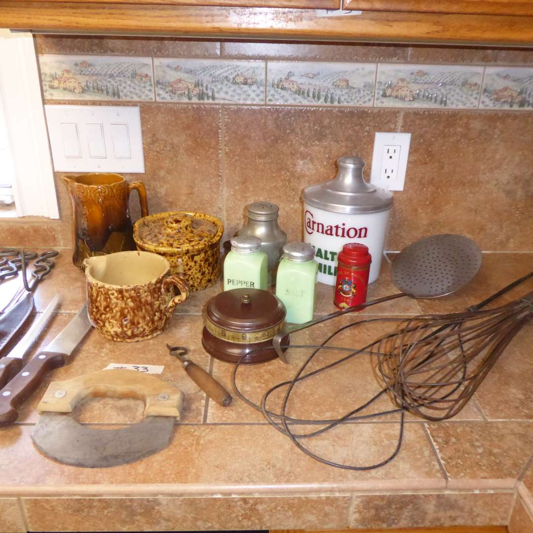 Lot # 33 - Antique Spongeware, Carnation Malt Container, Jadite Shakers & Other Collectibles   (main image)