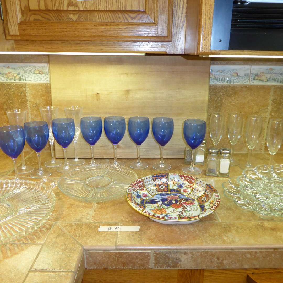 Lot # 34 - Blue Glass Stemware, Nice Wood Cutting Board & Serving Dishes (main image)