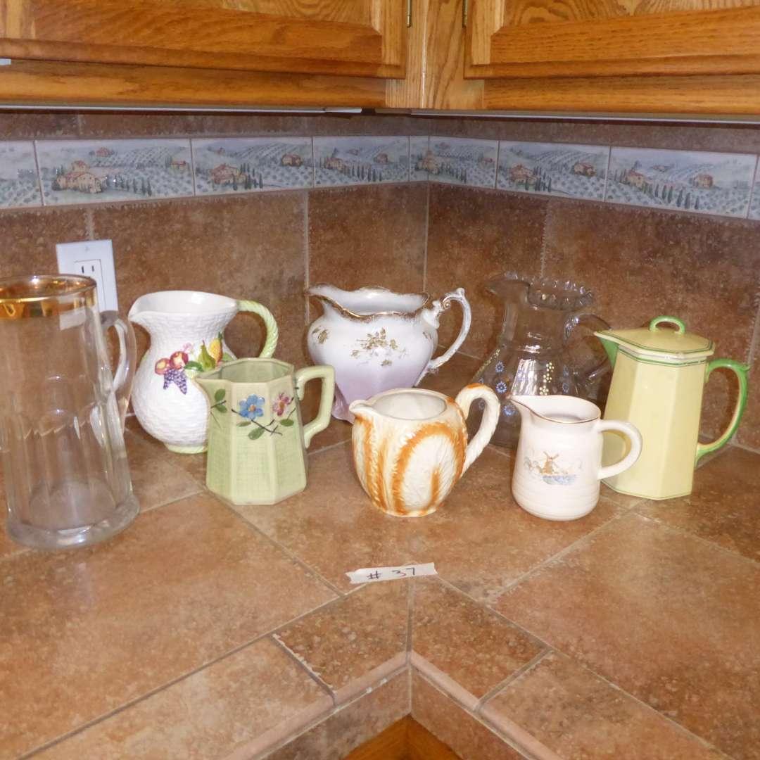 Lot # 37 - Vintage Ceramic & Glass Pitchers (main image)