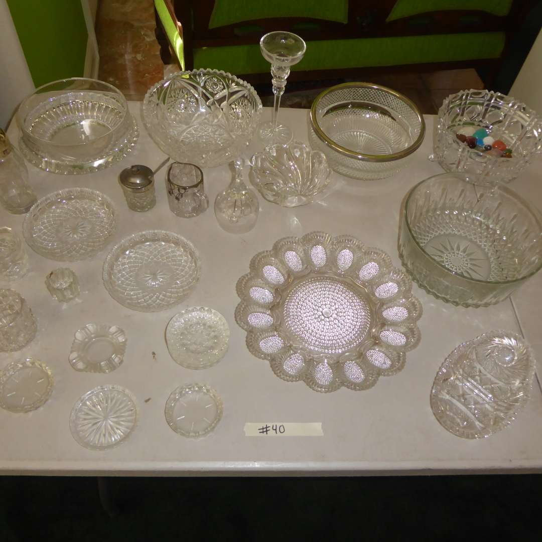 Lot # 40 - Cut Glass & Crystal Serving Dishes (main image)