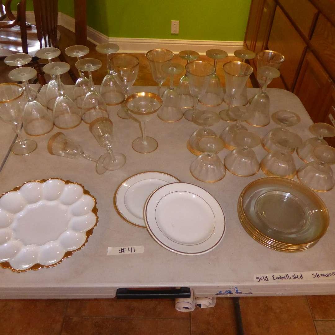 Lot # 41 - Gold Embellished Stemware & Plates