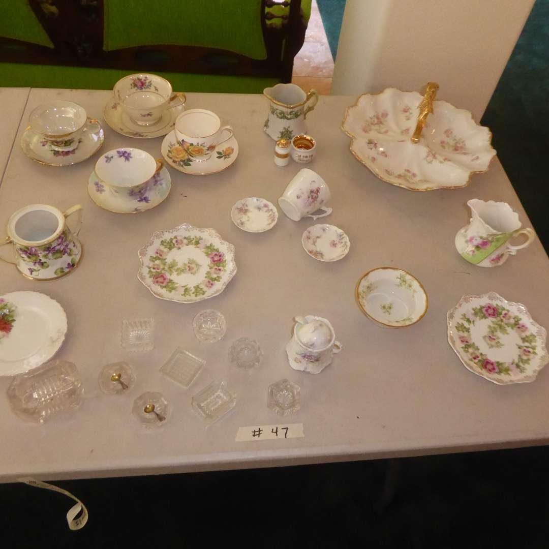 Lot # 47 - Vintage Lithopane Cup, Tea Cups, Serving Plates & Salt Bowls (main image)