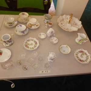 Lot # 47 - Vintage Lithopane Cup, Tea Cups, Serving Plates & Salt Bowls