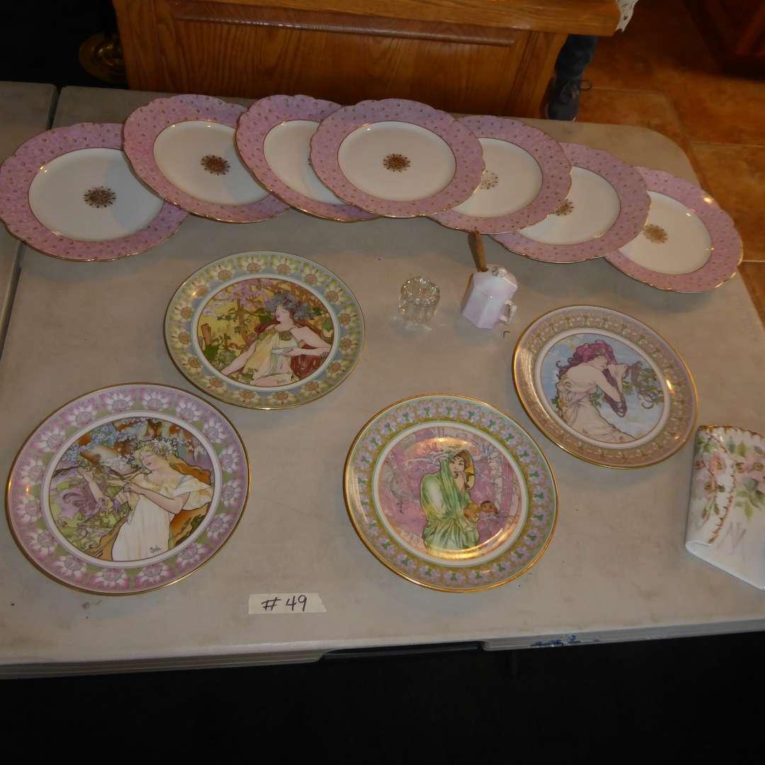 Lot # 49 - Femme d' River Collectible Plates & Lovington Bros Plates