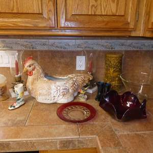 Lot # 52 - Plaster Chicken Decor, Candles & Glass Serving Bowl