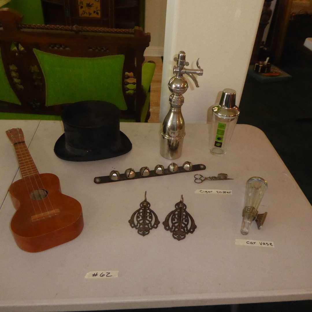 Lot # 62 - Top Hat, Antique Seltzer Bottle, Cigar Scissors, Paper Holders & Car Vase