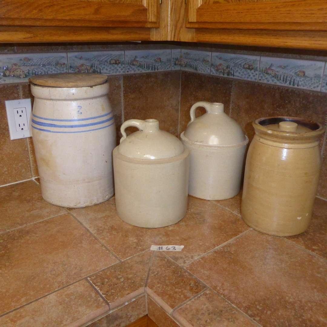 Lot # 63 - Vintage Stoneware Butter Churn, Stoneware Jugs & Lidded Crock