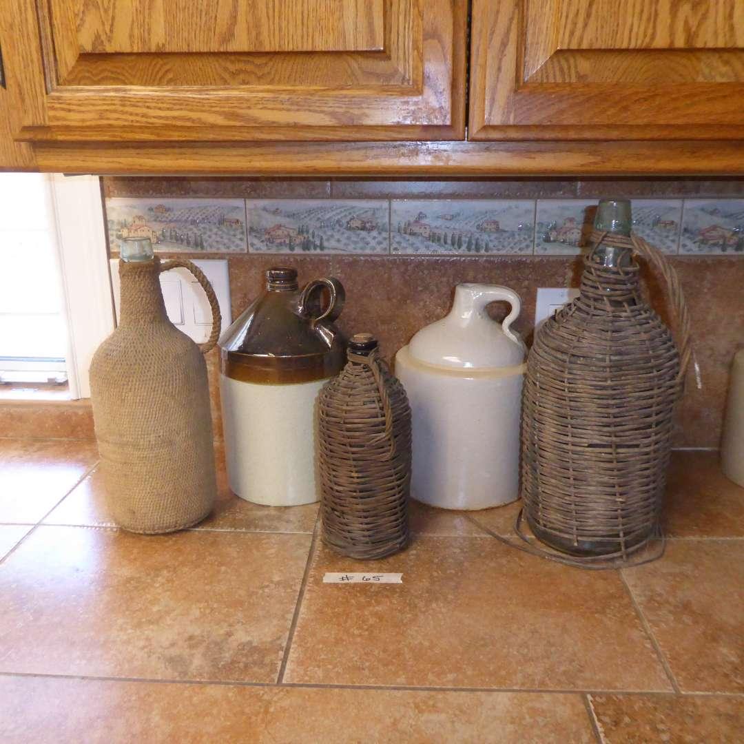 Lot # 65 - Vintage Wicker Wrapped Bottles & Stoneware Jugs (main image)