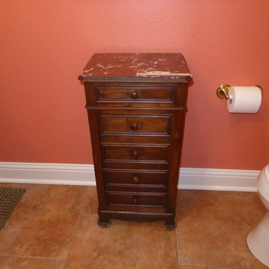 Lot # 66 - Small Antique Cabinet W/Marble Top (main image)