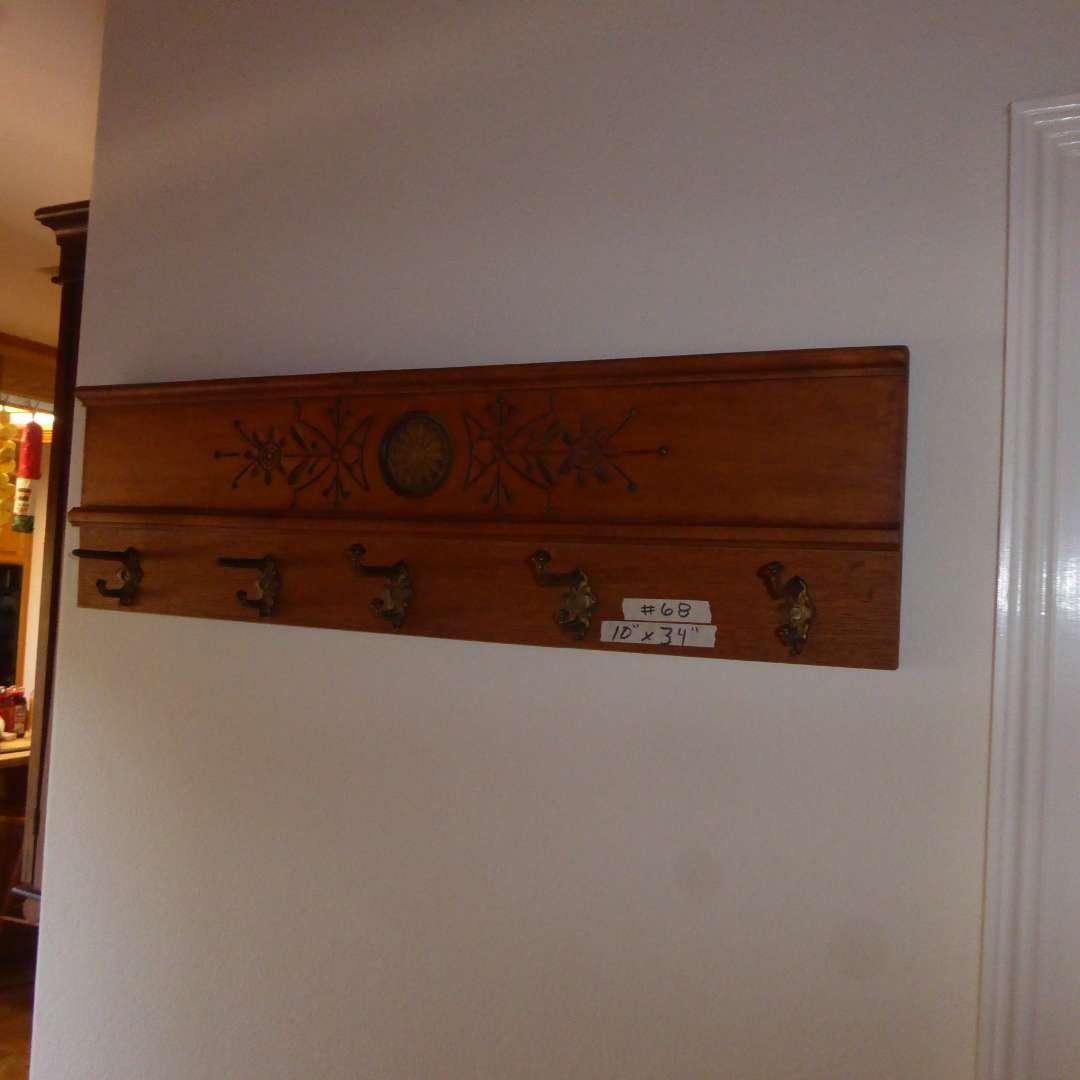 Lot # 68 - Vintage Carved Wooden Coat Rack  (main image)