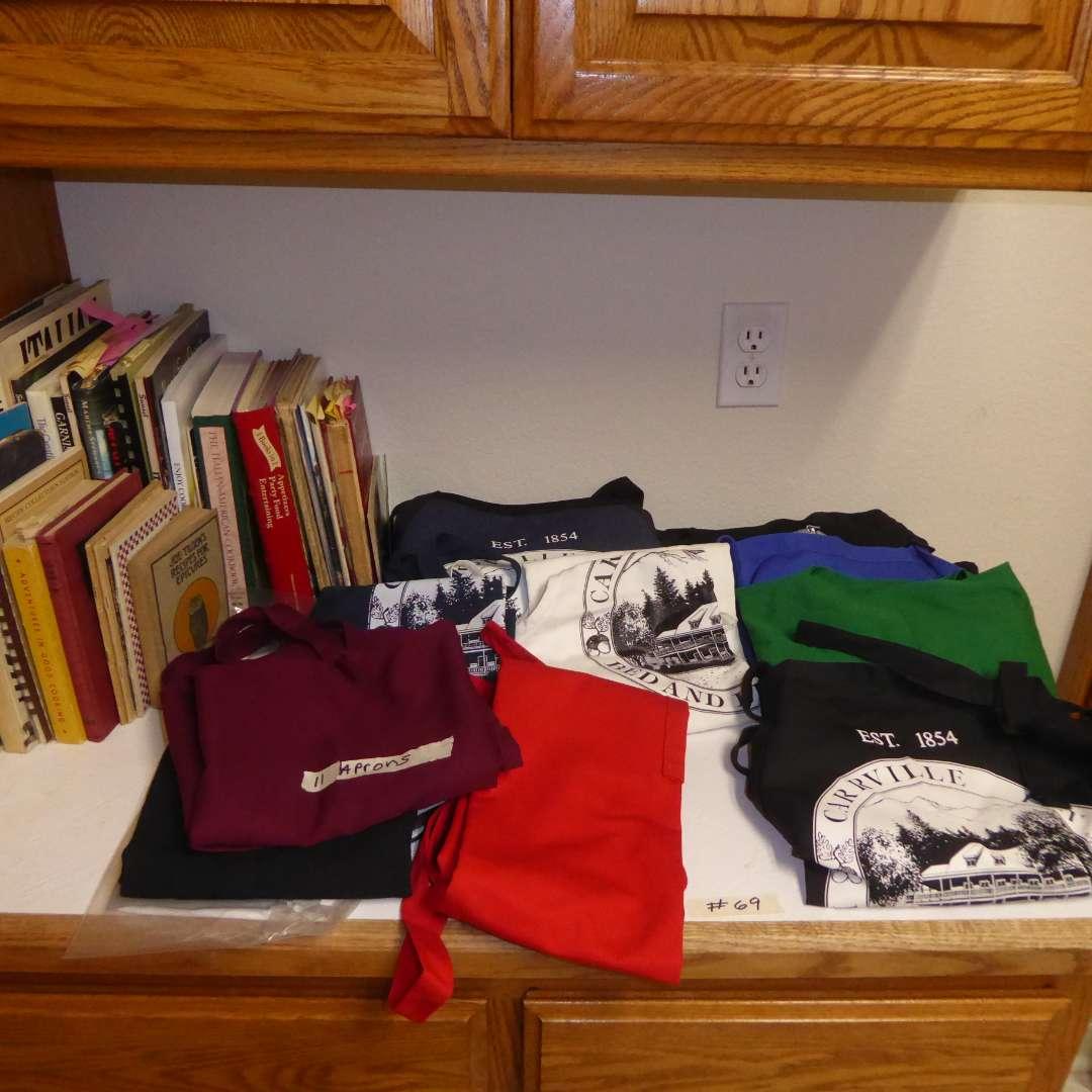 Lot # 69 - Cookbooks, Carrville Inn Trinity Lake Ca. Aprons, Other Aprons & Vintage Recipe Books (main image)