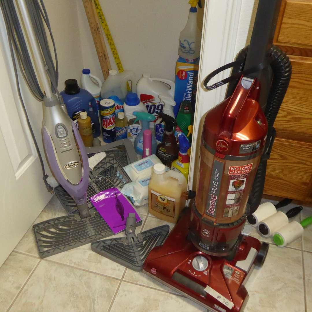 Lot # 70 - Hoover Rewind Plus Vacuum, Shark Steam Mop & Cleaning Supplies  (main image)