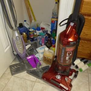 Lot # 70 - Hoover Rewind Plus Vacuum, Shark Steam Mop & Cleaning Supplies