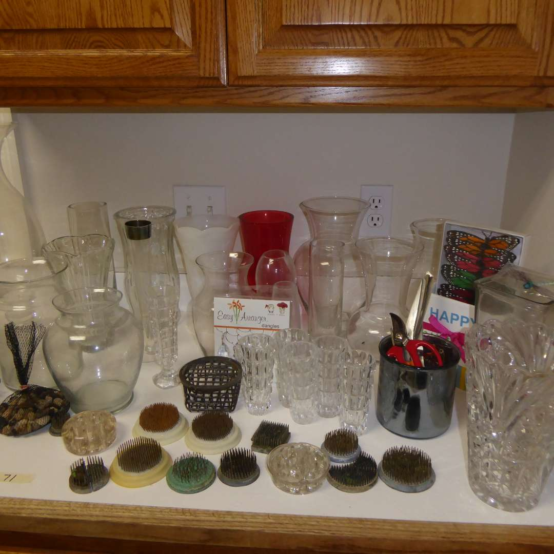 Lot # 71 - Flower Frogs & Glass Vases