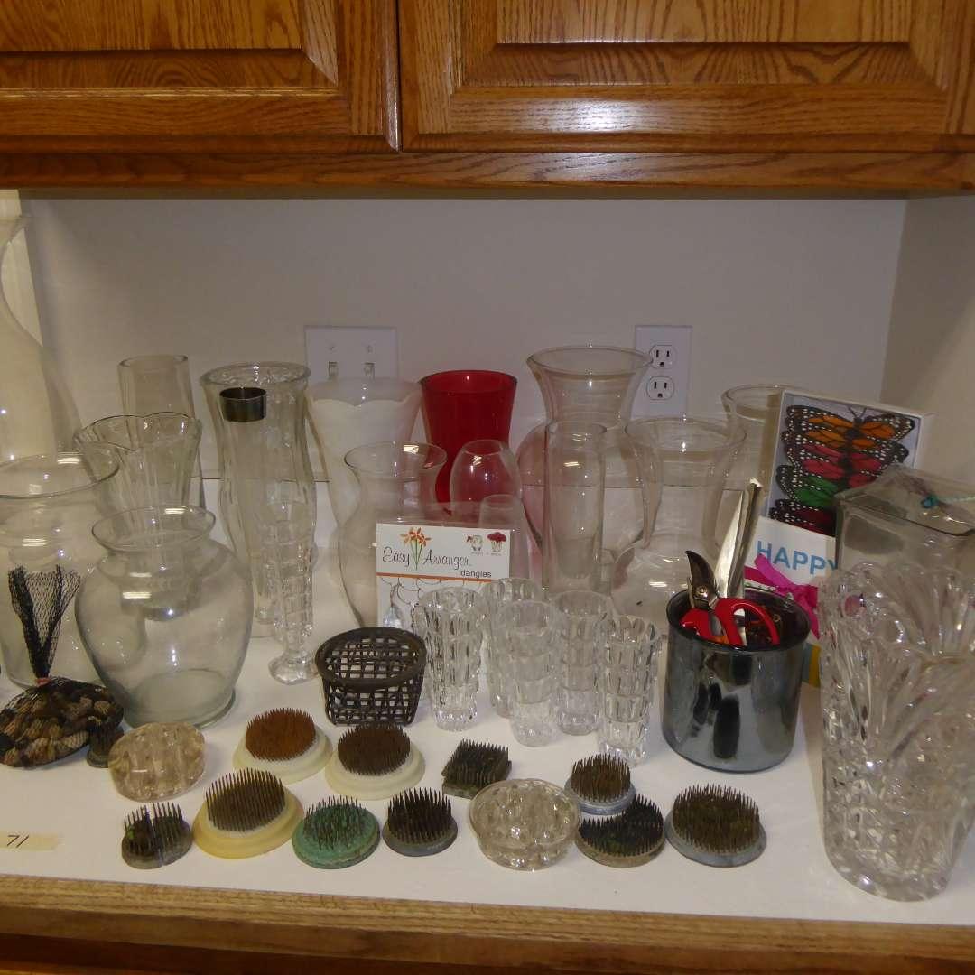 Lot # 71 - Flower Frogs & Glass Vases (main image)