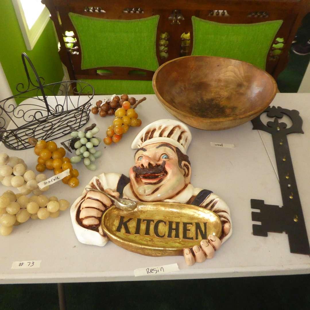 Lot # 73 - Italian Marble Grapes, Resin Kitchen Sign, Wooden Bowl & Key Holder (main image)