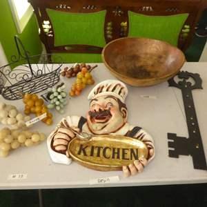 Lot # 73 - Italian Marble Grapes, Resin Kitchen Sign, Wooden Bowl & Key Holder