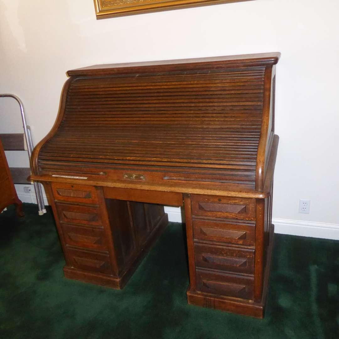 "Lot # 75 - Beautiful Antique ""George H. Fuller"" Roll Top Desk  (main image)"