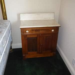 Lot # 78 - Antique Washstand On Porcelain Wheels