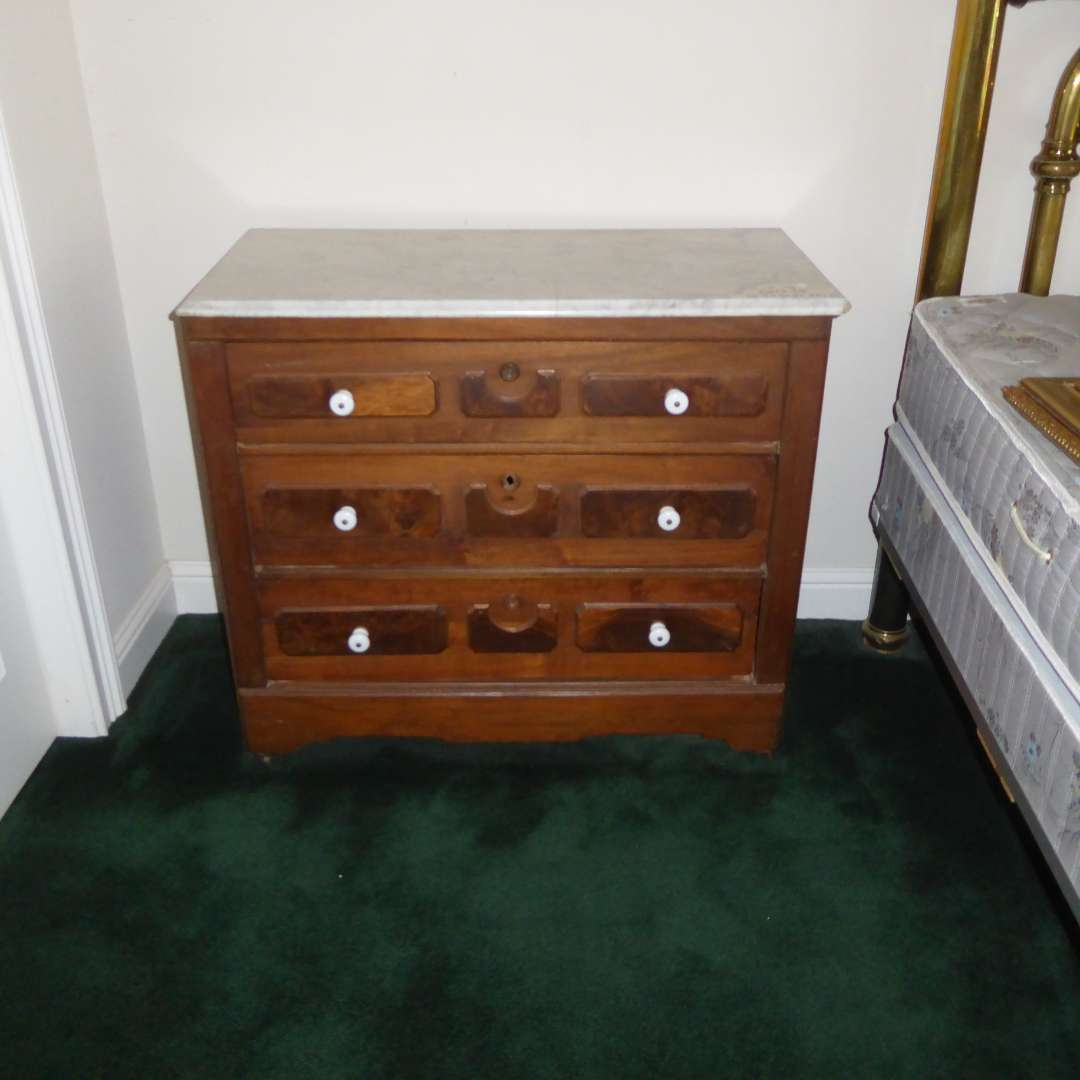 Lot # 79 - Antique Dresser W/Marble Top  (main image)