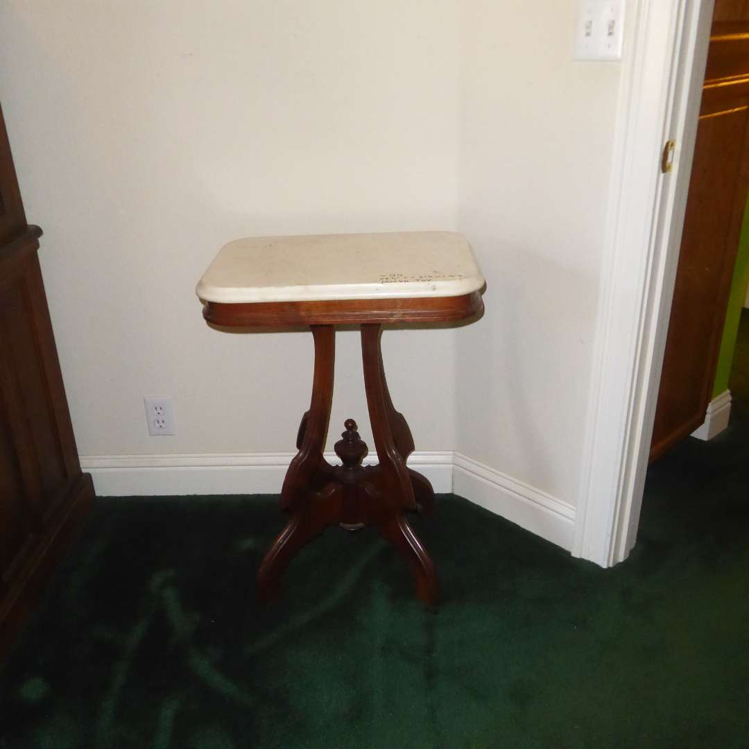 Lot # 80 - Antique Victorian Table W/Marble Top (main image)