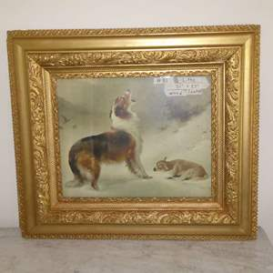 """Lot # 81 - Beautifully Framed Vintage Lithograph Print Collie Dog & Baby Lamb """"SHEPHERDS CALL"""""""