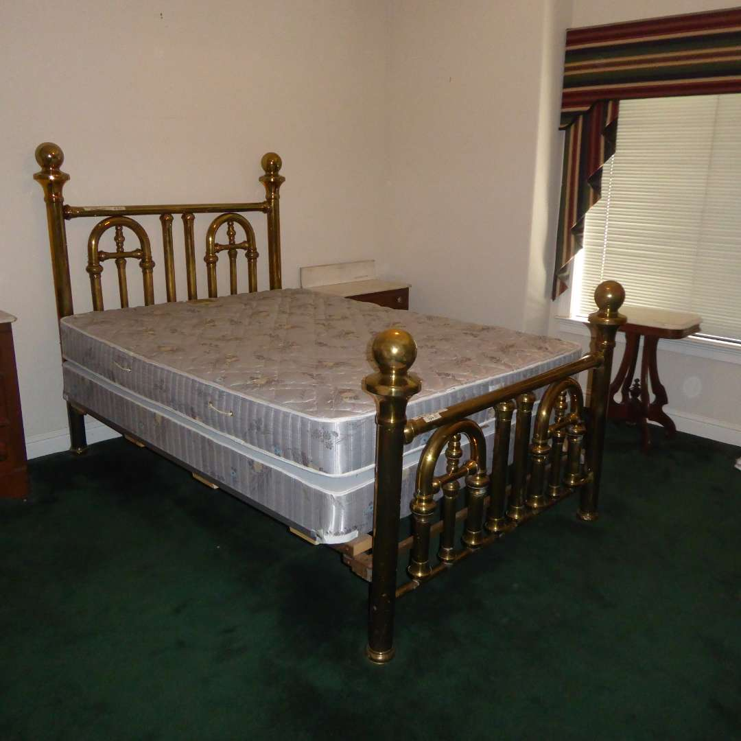 Lot # 82 - Full Vintage Brass Frame W/Queen Mattress & Boxspring  (main image)