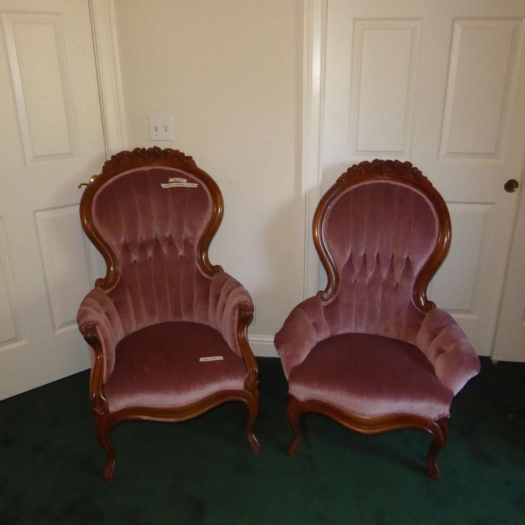 Lot # 84 - His & Hers Pink Queen Anne Chairs W/Carved Wooden Flowers (main image)