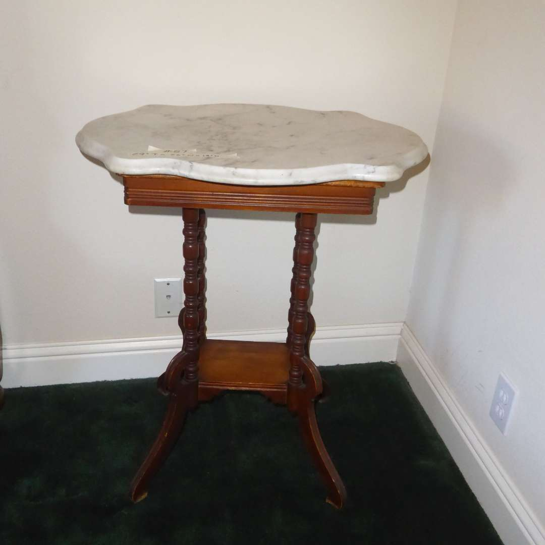 Lot # 87 - Small antique Marble Top Table  (main image)