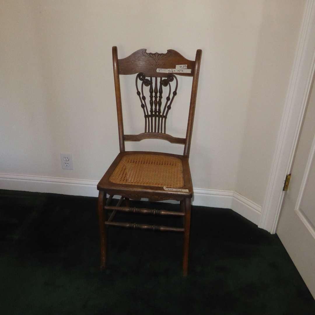 Lot # 89 - Unique Wooden Cane Seat Chair  (main image)