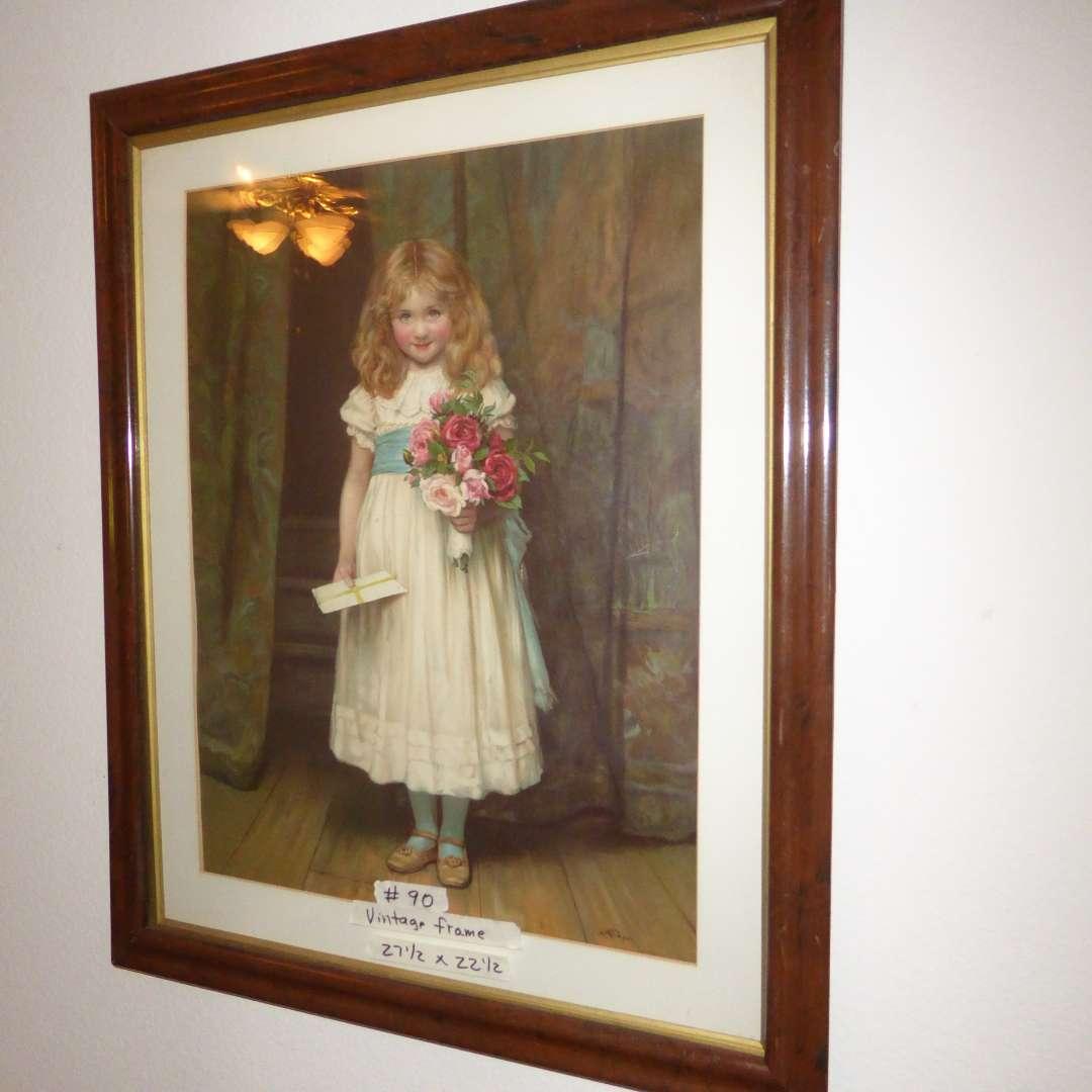 Lot # 90 - Vintage Frame & Glass W/Print Of Sweet Girl   (main image)