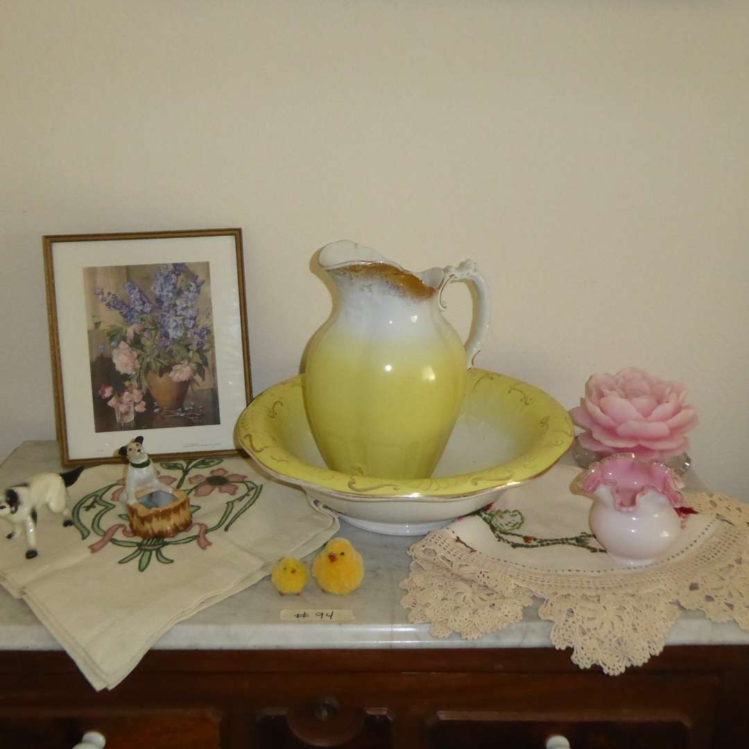 Lot # 94 - Vintage Ironstone & Bona Fama Wash Pitcher & Bowl & Other Collectibles  (main image)