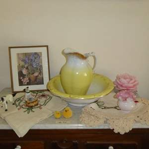 Lot # 94 - Vintage Ironstone & Bona Fama Wash Pitcher & Bowl & Other Collectibles