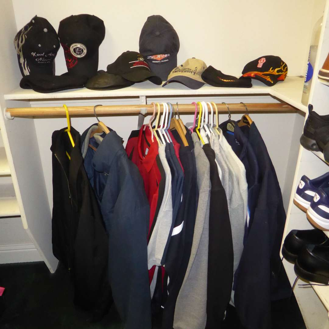 Lot # 99 - Men's Jackets, Sweatshirts & Ball Caps  (main image)