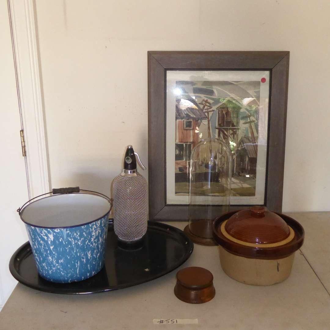 Lot # 551  - Signed Watercolor, Vintage Seltzer Bottle, Bean Pot & Enameled Metal Pot