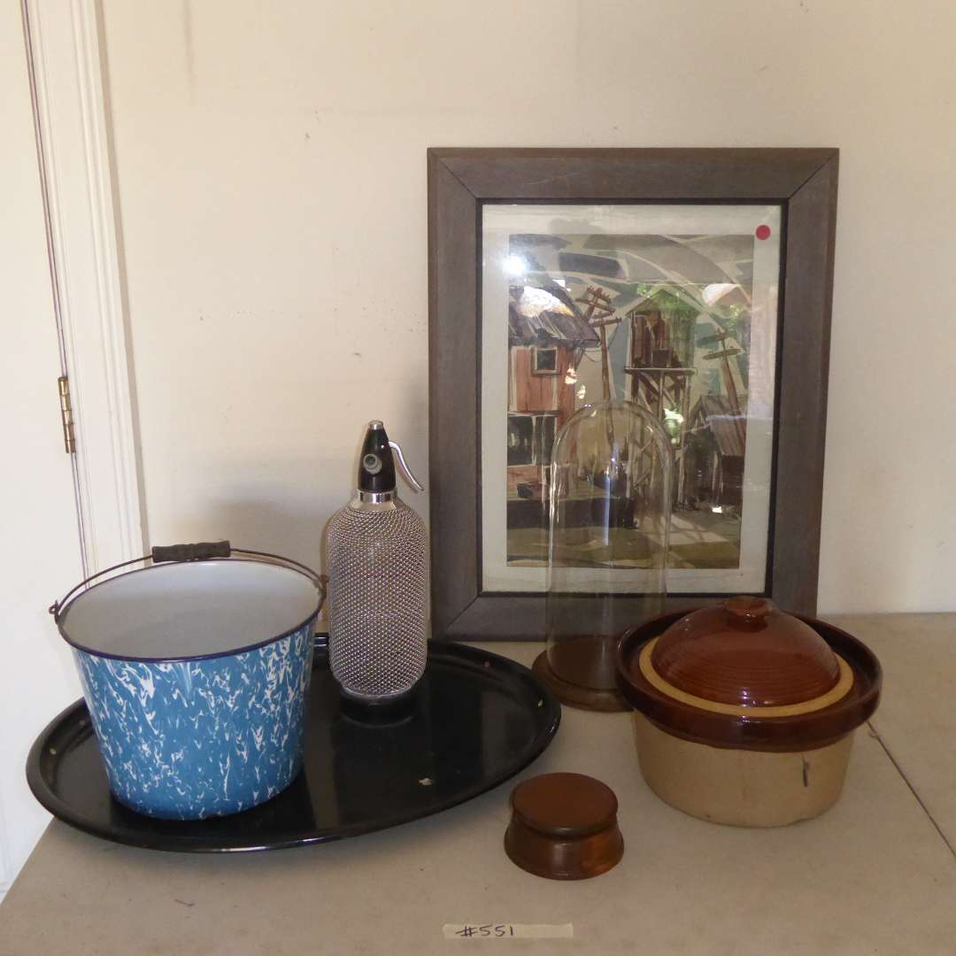Lot # 551  - Signed Watercolor, Vintage Seltzer Bottle, Bean Pot & Enameled Metal Pot   (main image)