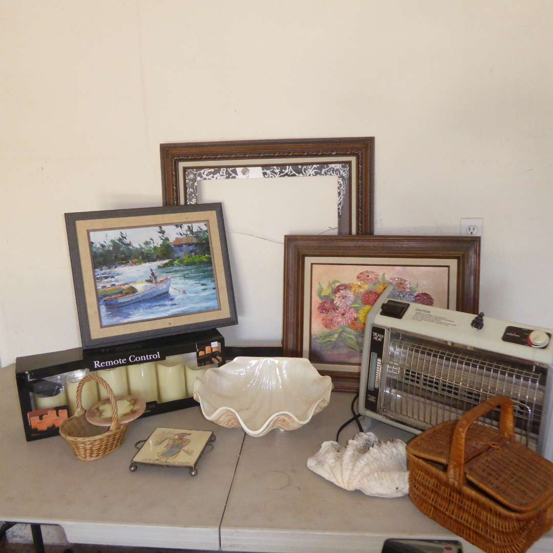 Lot # 554  - Two Original Oil Paintings, Heater, Ceramic Shell & More (main image)