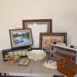 Lot # 554  - Two Original Oil Paintings, Heater, Ceramic Shell & More