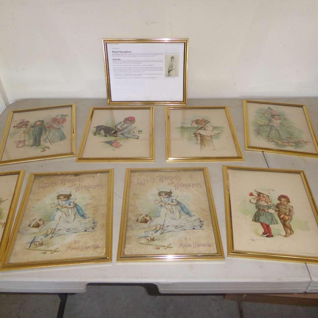 Lot # 555  - 8 Adorable Framed Vintage Maud Humphrey Prints  (main image)