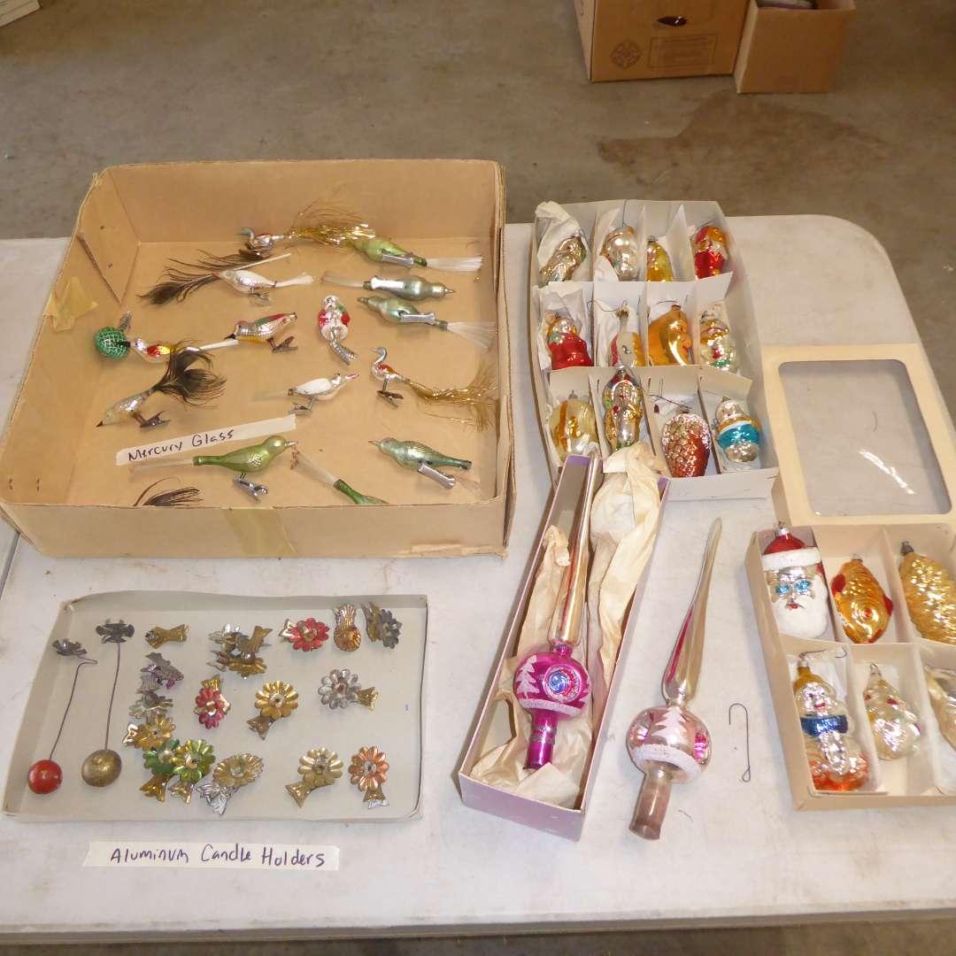 Lot # 560  - Vintage Christmas Ornaments (Mercury Glass, Aluminum Candle Holders & More)  (main image)