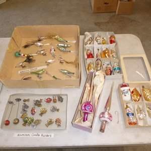 Lot # 560  - Vintage Christmas Ornaments (Mercury Glass, Aluminum Candle Holders & More)