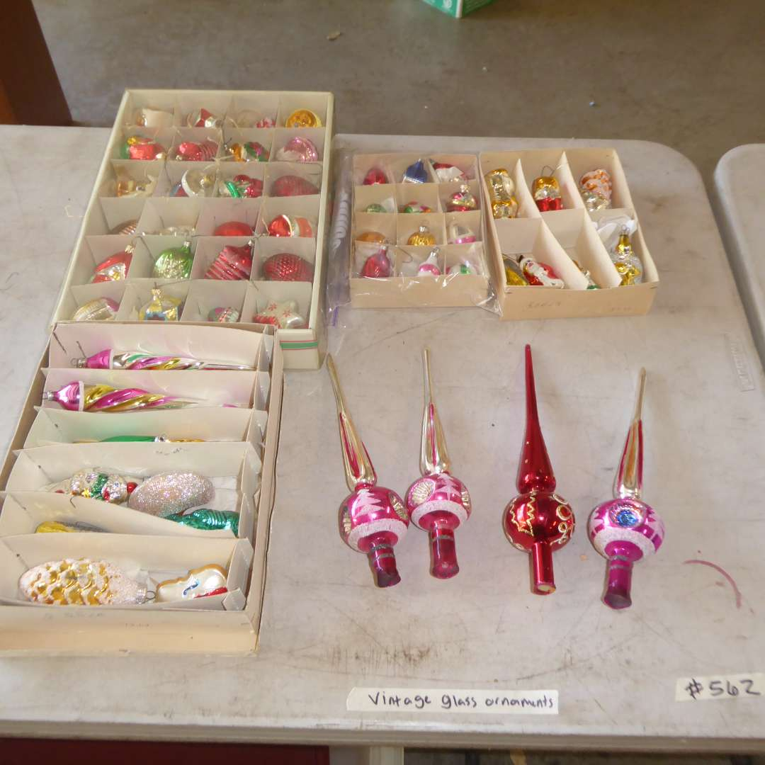 Lot # 562  - Vintage Glass Christmas Ornaments & Tree Toppers (main image)