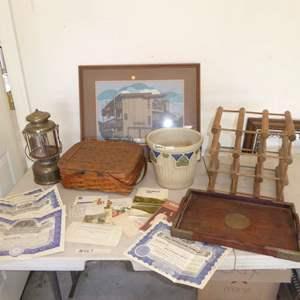 Lot # 567  - Mining & Petroleum Stock Certificates, Petersboro Basket & Other Collectibles